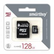 Карта памяти SmartBuy MicroSD 128 Gb Class 10 в комплекте Adapter SD