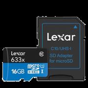 Карта памяти Lexar microSDHC Memory Card 16Gb UHS-I U1 + SD Adapter