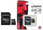Карта памяти Kingston microsdxc 64gb class 10 + адаптер uhs-i (sdc10g2/64gb)