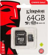 Карта памяти Kingston Canvas Select microSDXC UHS-I 64GB Class 10 с адаптером