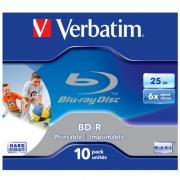 Диск BD-R Verbatim 25Gb 6x Jewel case (1шт) Printable (43713/43712)