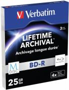 Диск BD-R Verbatim 25Gb 4x Slim Case (3 шт.) (43827)