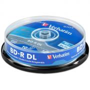 Диск BD-R DL 50Gb Verbatim 6x cake, упаковка 10 штук (43746)