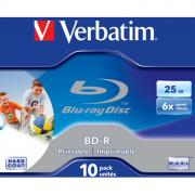 Оптический диск BD-R диск Verbatim 25Gb 6x Jewel Case Printable (10шт) (43713)