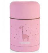 Термос Miniland Пищевой термос, объем 600 мл, материал - нержавеющая сталь, цвет розовый; в комплекте термосумка.