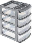 """Бокс универсальный """"Idea"""", цвет: серый металлик, прозрачный, 20 х 14,5 х 23 см, 4 секции"""