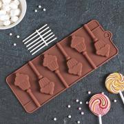 Форма для леденцов и мороженого Доляна «Кексик», 25x9,5x1,5 см, 6 ячеек