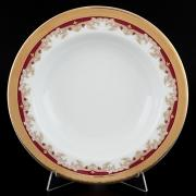 Набор глубоких тарелок Thun / Кристина красная лилия / 22 см / 6 шт