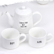 """Посуда Дорого внимание Набор чайный 3 пред """"Мистер и миссис"""" чайник с металл ситом 600 мл, 2 кружки 200 мл"""