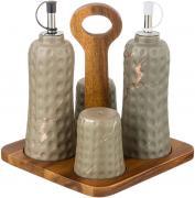 Набор для специй Lefard Золотой мрамор на деревянной подставке серый