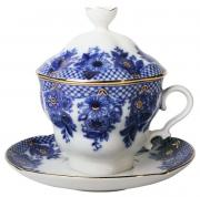 Чашка чайная Императорский фарфоровый завод Гирлянда 18411 Белый, синий