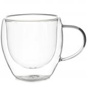 Стеклянная чашка с двойными стенками, 150 мл (Кружки, стаканы двойные из стекла. Необжигающие чашки и пиалы.)