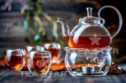Стеклянный заварочный чайник Георгин 800 мл с подогревом от свечи (Наборы-Акции)