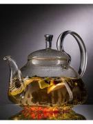 Чайник заварочный Lecafeier TP201-1200 из боросиликатного стекла с фильтром пружинкой, 1200 мл