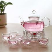 Чайник стеклянный 1000 мл + 6 чашек 60 мл