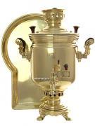 """Набор с угольным самоваром 5 литров желтый """"цилиндр"""" """"Золото"""", арт. 220533г"""