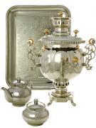 """Набор с угольным самоваром 4,5 литра никелированный """"шар"""", арт. 210505"""