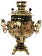 """Электрический самовар 3 литра с художественной росписью """"Золотые цветы на черном фоне"""", с автоматическим отключением при закипании, арт. 140408а"""
