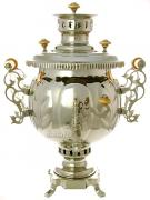 """Комбинированный самовар 4,5 литра никелированный """"шар"""", Штамп, арт. 310501"""