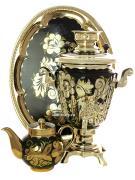 """Самовар электрический 3 литра с чайником и подносом, роспись """"Золотые цветы на черном фоне"""" с автоотключением, арт. 161656а"""