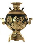 """Электрический самовар 5 литров с росписью """"Золотые цветы на черном"""" с автоматическим отключением арт. 159693к"""