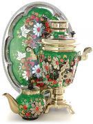 """Набор самовар электрический 3 литра с художественной росписью """"Ромашки на зеленом фоне"""", арт. 130479"""