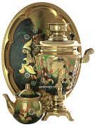 """Электрический самовар в наборе 3 литра с художественной росписью """"Ромашки на золотом"""" с автоматическим отключением при закипании, арт. 159684к"""