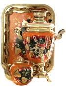 """Набор самовар электрический 3 литра с художественной росписью """"Глухари"""" с автоматическим отключением при закипании, арт. 157850к"""
