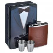 """Набор подарочный """"Джентльмен"""" : фляга для спиртных напитков, 200 мл и 2 стопки; 20.2x13.2x6.7 Феникс-Презент"""