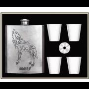 Подарочный набор Steel Wolf с флягой 6 в 1 (Серебро)