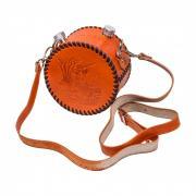 Аксо Подарочная фляга круглая двойная (2x0,5 л) обтянутая натуральной кожей AKSO 542ФК-РТ