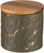 Банка Lefard Золотой мрамор для сыпучих продуктов с деревянной крышкой серая