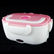 Ланч бокс с подогревом от прикуривателя контейнер для еды Car Electric Lunch Box (Бело-розовый)