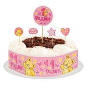 """Набор для украшения торта """"1 годик"""" малышка"""