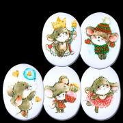 """Сахарные фигурки """"Веселые мышки"""" 10 шт (плоские)"""