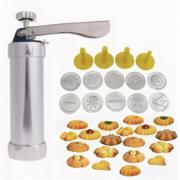 Кондитерский шприц-пресс для печенья Marcato Biscuits с 10 насадками (Серебристый)