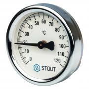 STOUT Термометр биметаллический накладной с пружиной 0-120 С, 63мм копрус