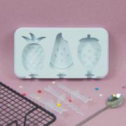 Форма силиконовая для мороженого 3 ячейки Фрукты