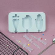 Форма силиконовая для мороженого и леденцов 3 ячейки Микс