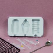 Форма силиконовая для мороженого 3 ячейки Стандарт