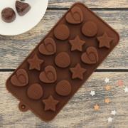 """Форма для льда и шоколада """"Звёзды, ракушки, сердца"""" 15 ячеек"""