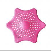 Силиконовая сетка-фильтр для слива в раковину, d 15 см (розовый)