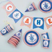 """Набор бумажной посуды """"С днём рождения. Морской Якорь"""": 6 тарелок, 6 стаканов, 6 колпаков, 1 гирлянда"""