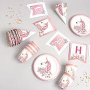 """Набор бумажной посуды """"Единорог с цветами"""": 6 тарелок, 1 гирлянда, 6 стаканов, 6 колпаков"""