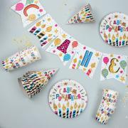 """Набор бумажной посуды """"С днём рождения. Праздничные свечи"""": 6 тарелок, 6 стаканов, 6 колпаков, 1 гирлянда"""
