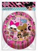 Бумажные тарелки LOL Surprise розовые с паттерном 6шт