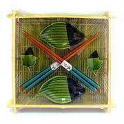 """Набор для суши на 2 персоны """"Рыбки"""" зеленый"""