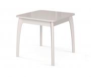 Дик Стол обеденный №45 ДН4 раскладной квадратный белый, стекло белое