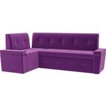 Кухонный угловой диван Мебелико Деметра микровельвет (фиолетовый) левый угол