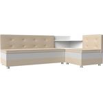 Кухонный диван Мебелико Милан эко-кожа бежевый-белый правый